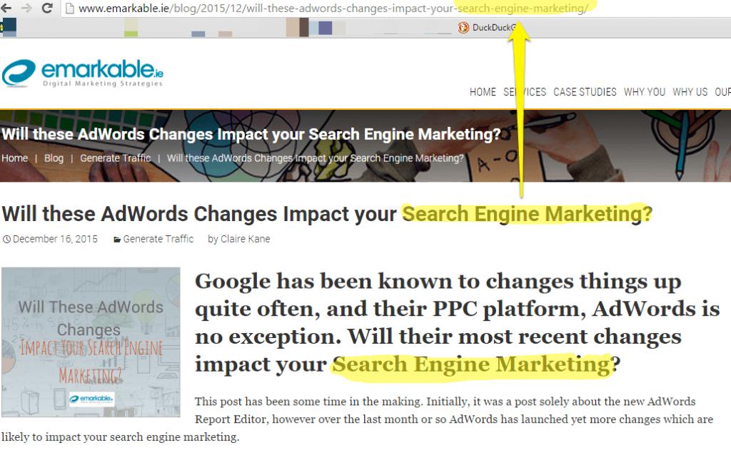 SEO Advice - Keyword in URL